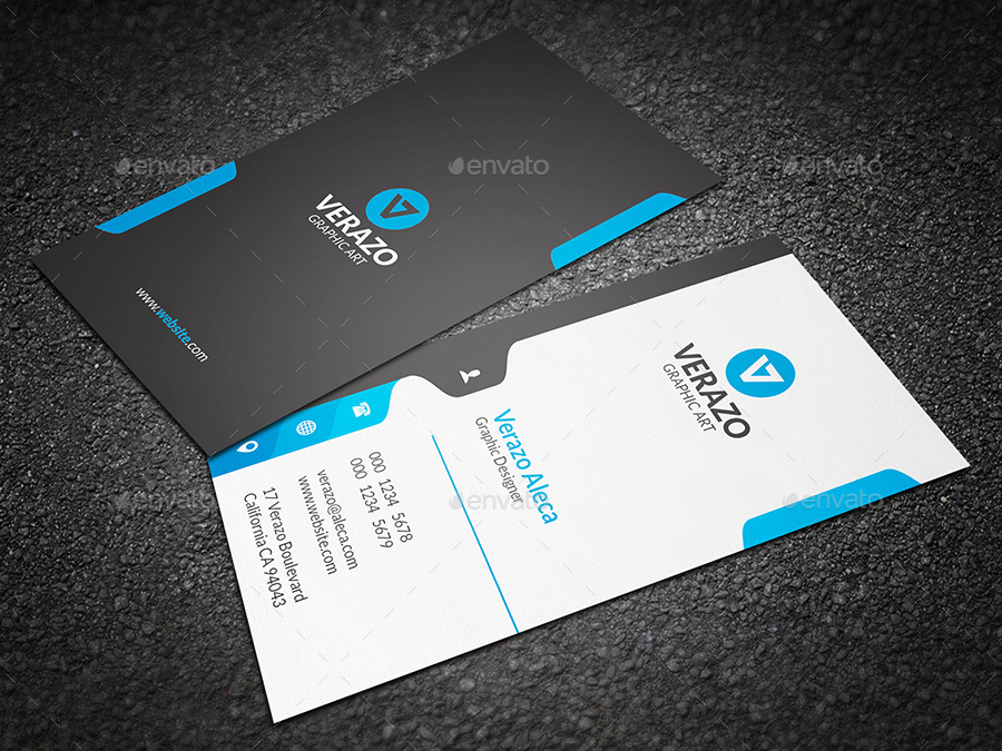 Creative Vertical Business Card Template by verazo | GraphicRiver