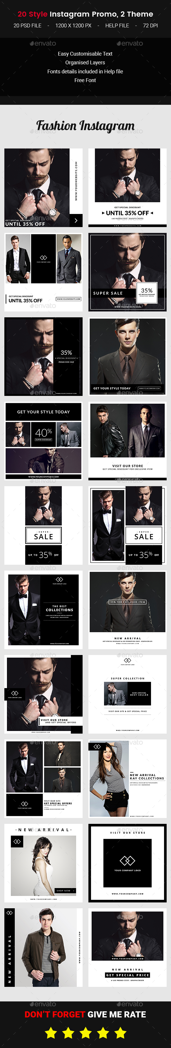 20 Instagram Fashion Promo - Banners & Ads Web Elements