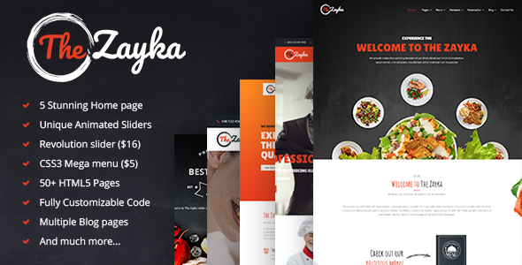 The Zayka – Multipurpose Restaurant, Food & Cafe HTML5 Template