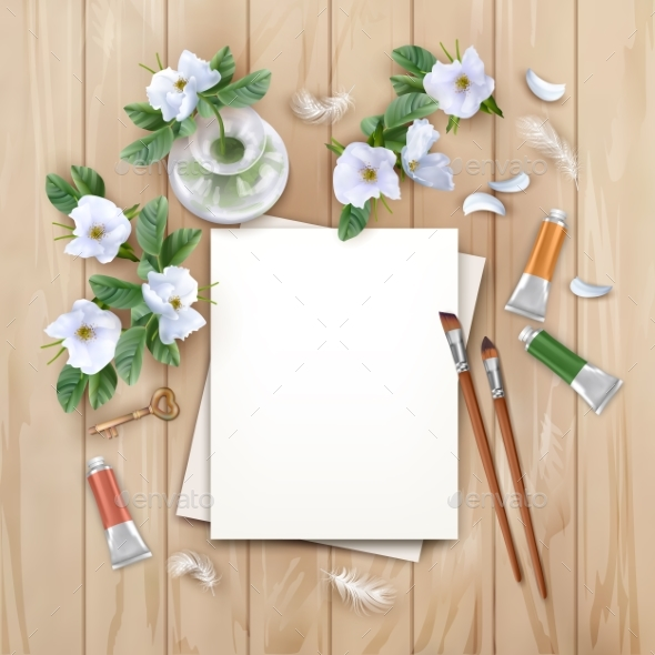Background with Brushes and Paints - Backgrounds Decorative