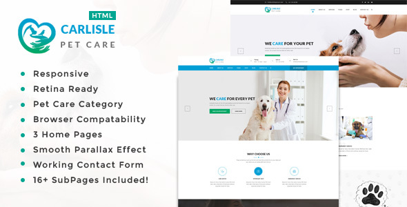 Carlisle : Pet Sitter and Pet Shop, Animal Care HTML Template