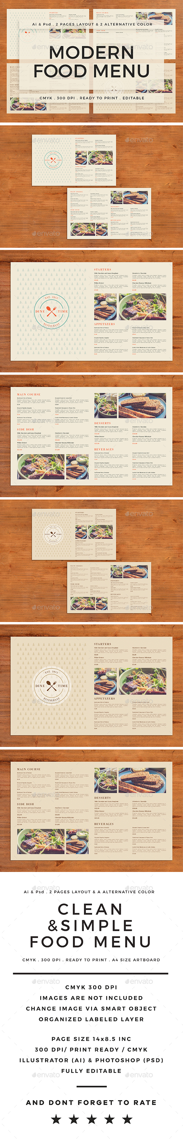 Modern Food Menu - Food Menus Print Templates