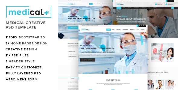 Medical - Health Care, Clinic PSD Template - Retail PSD Templates
