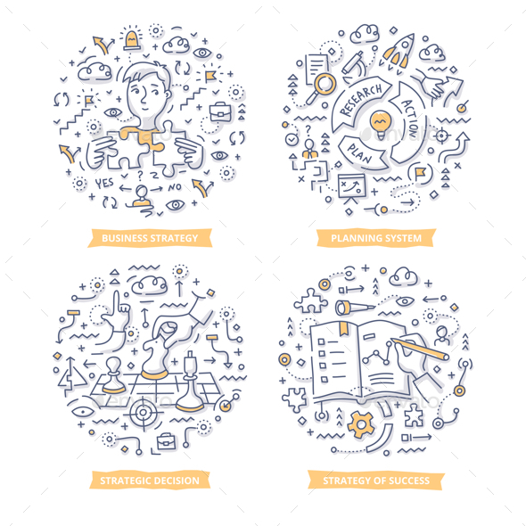 Strategy & Goals Doodle Illustrations - Concepts Business