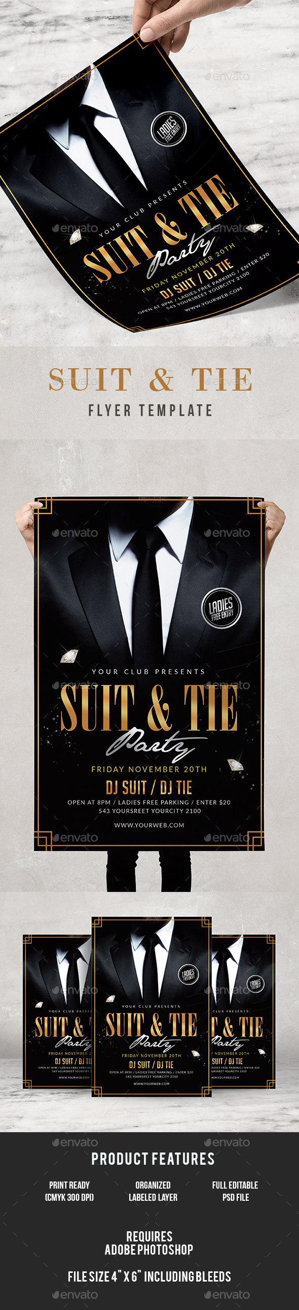 Suit and Tie Flyer - Clubs & Parties Events