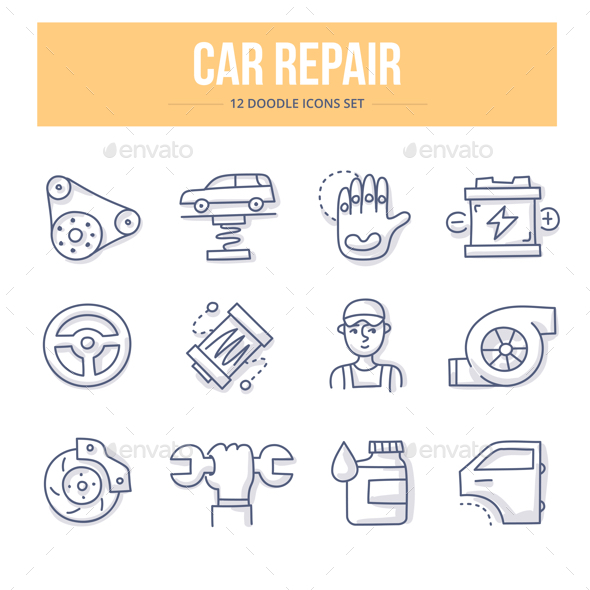 Car Repair Doodle Icons - Objects Icons