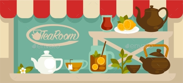 Tea Room Showcase with Shelves and Pots - Buildings Objects
