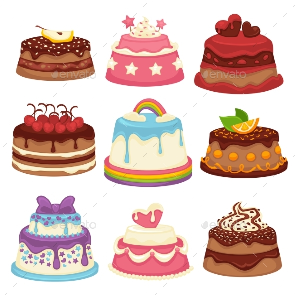 Decorated Sweet Festival Cakes Collection Isolated - Birthdays Seasons/Holidays