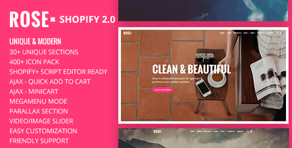 Rose – Onepage responsive Multi-purpose Shopify Theme with Drag & Drop section builder
