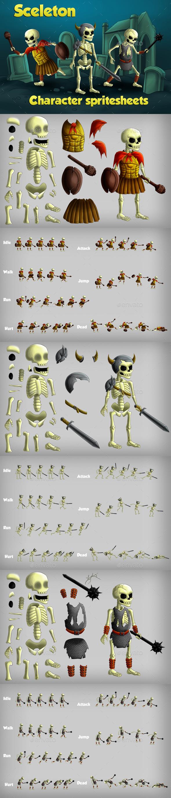 2D Game Skeleton Character Spritesheet - Sprites Game Assets