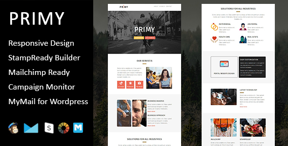 Primy – Multipurpose Responsive Email Template with Stampready Builder Access