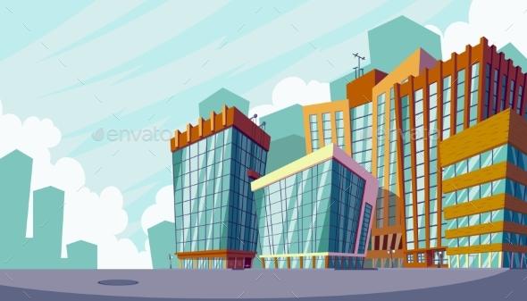 Cartoon Illustration of an Urban Landscape - Buildings Objects