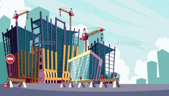 Building Construction Cartoon : Cartoon illustration of the construction process by