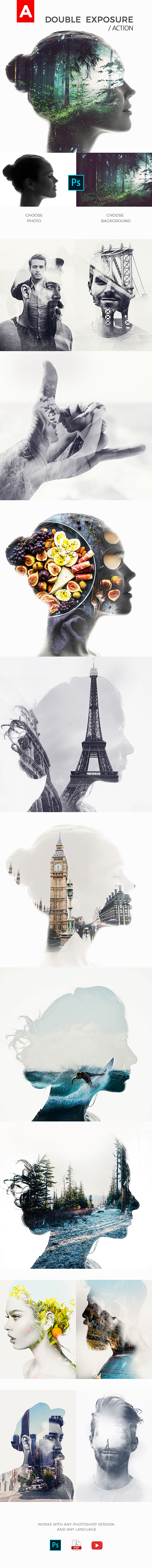 Double Exposure Action - Photo Effects Actions