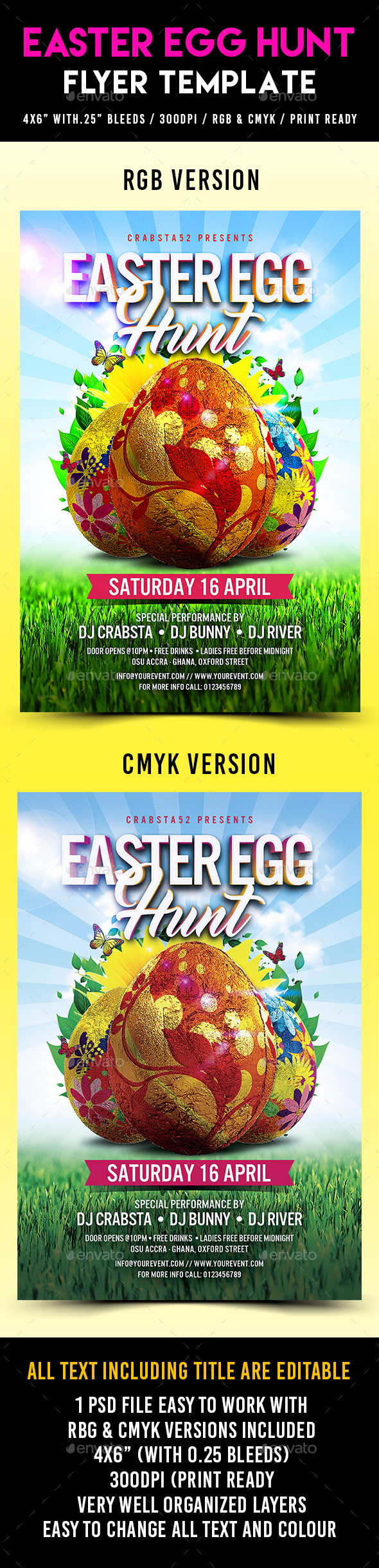 Easter Egg Hunt Flyer Template - Flyers Print Templates