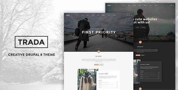 Trada – Creative Onepage Drupal 8 Template