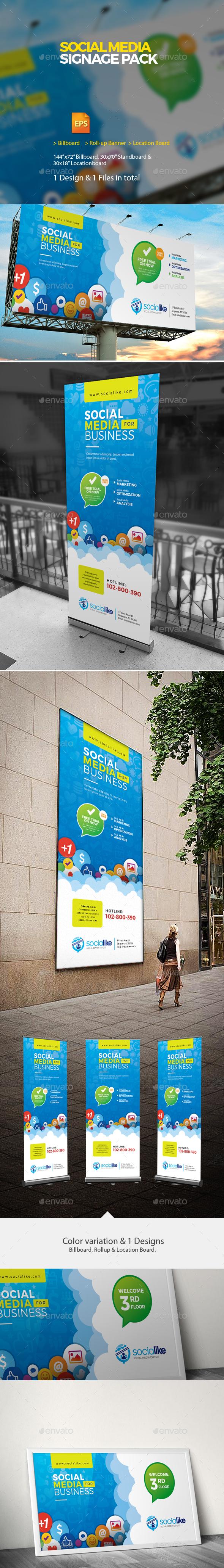 Social Media Signage | Roll-up & Billboard - Signage Print Templates