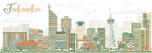 Abstract Fukuoka Skyline with Color Landmarks - Buildings Objects