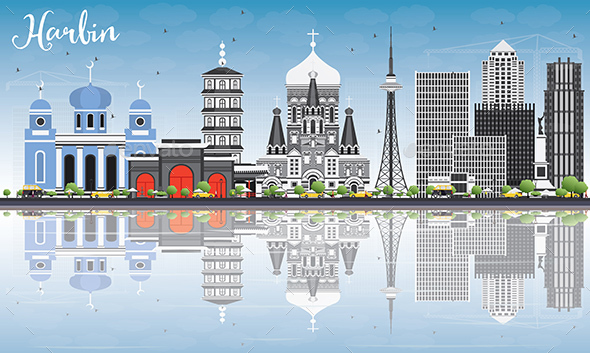 Harbin Skyline with Gray Buildings - Buildings Objects