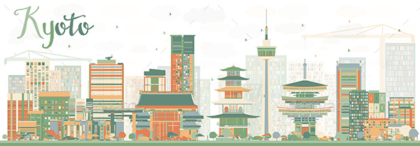 Abstract Kyoto Skyline with Color Landmarks - Buildings Objects