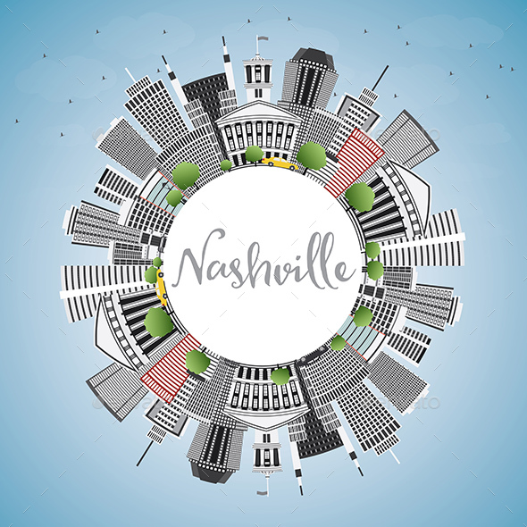 Nashville Skyline with Gray Buildings - Buildings Objects