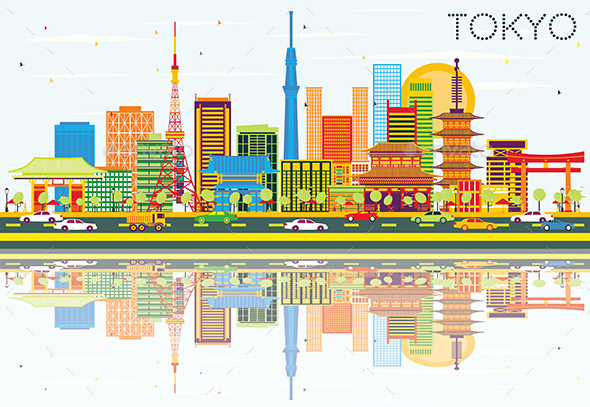 Tokyo Skyline with Color Buildings - Buildings Objects
