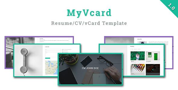 MyVCard – Responsive & Creative Resume/CV/vCard Template