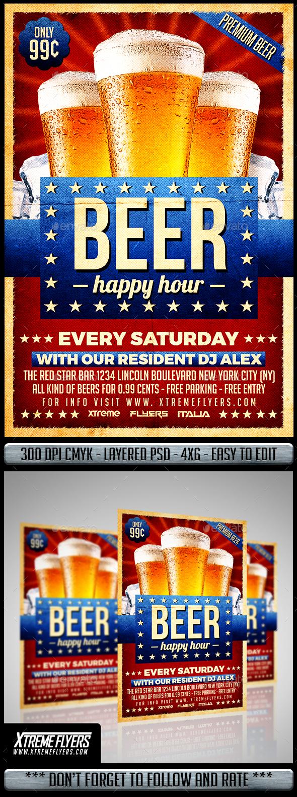 Happy Hour Beer Flyer - Restaurant Flyers
