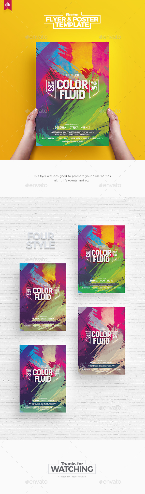 Color Fluid - Flyer Template - Clubs & Parties Events