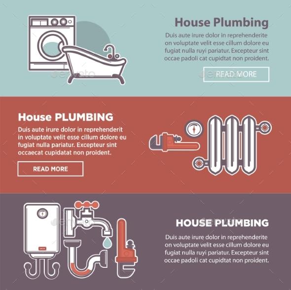 House Plumbing and Plumber Fixture Vector Web - Web Technology