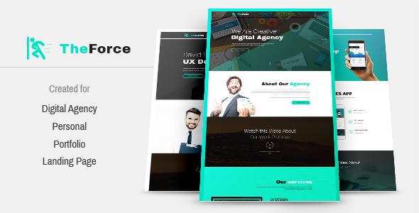 TheForce Digital Agency, Personal, App Landing PSD Template - Creative PSD Templates