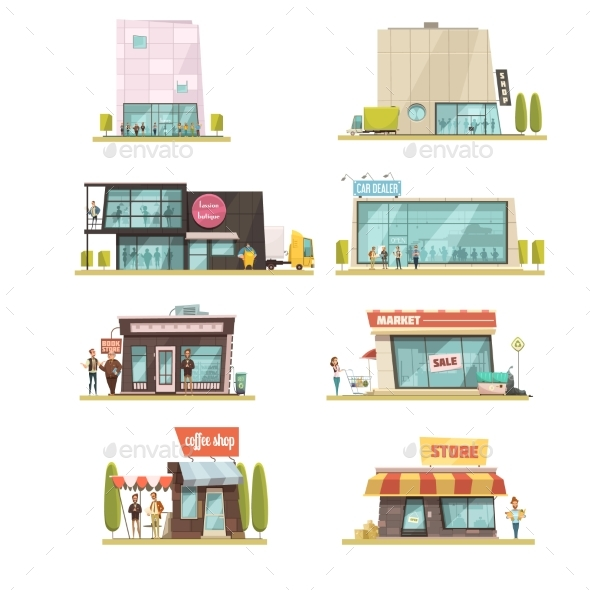 Supermarket Building Set - Retail Commercial / Shopping