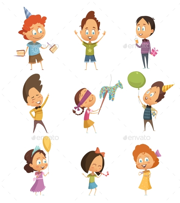 Kids Party Retro Icons Set - People Characters