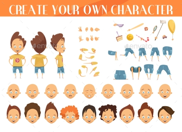Boy Character Creation Set - People Characters