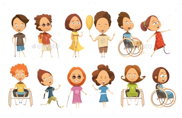 Disabled Kids Set - People Characters