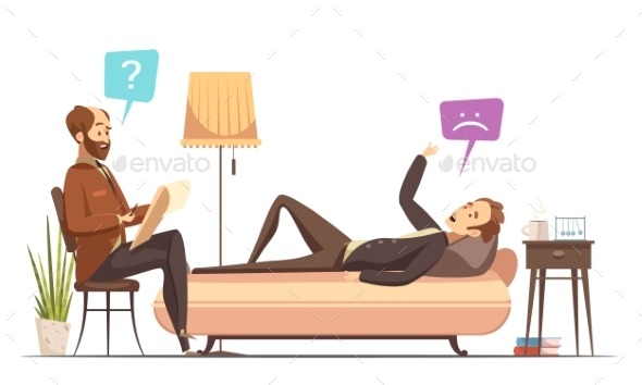 Psychotherapy Session Retro Cartoon Vector - Health/Medicine Conceptual