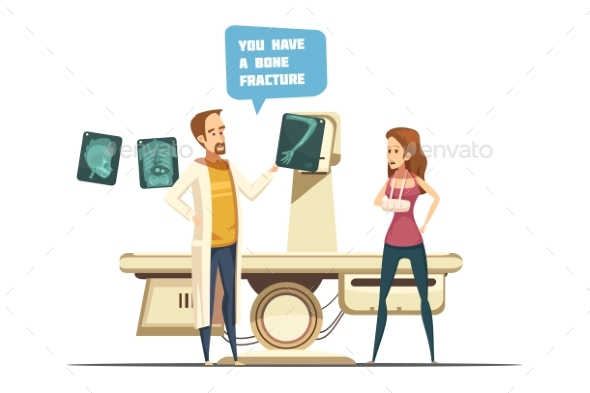 Bone Fracture Cartoon Retro Style Design - Health/Medicine Conceptual