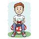 Boy Sitting on a Mushroom Playing Video Game - GraphicRiver Item for Sale