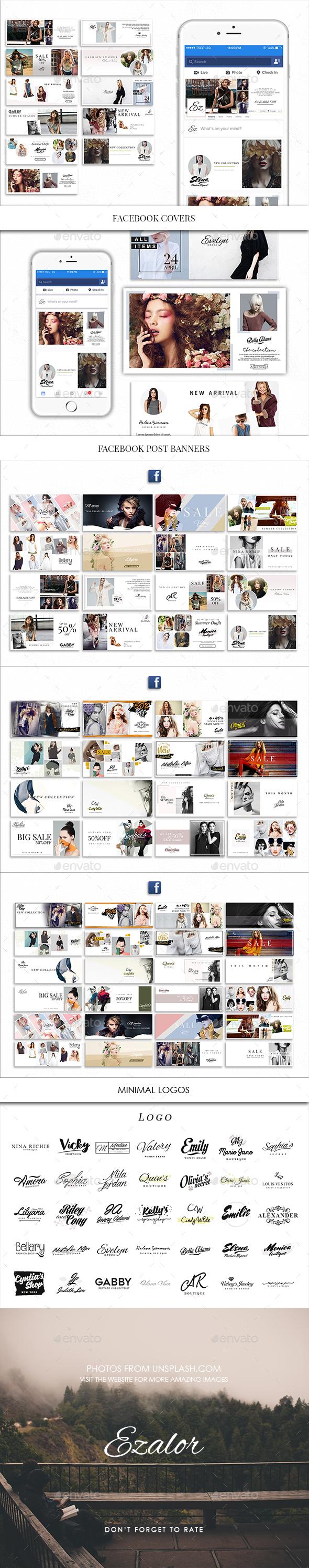 Facebook and Minimal Logos - Social Media Web Elements
