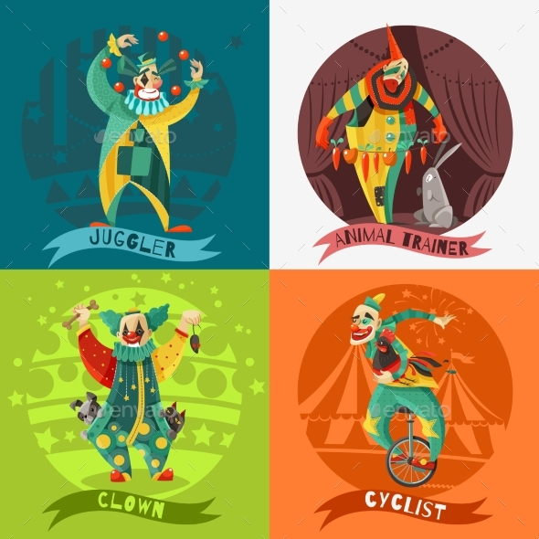 Circus Clowns 4 Icons Square Concept - Miscellaneous Characters
