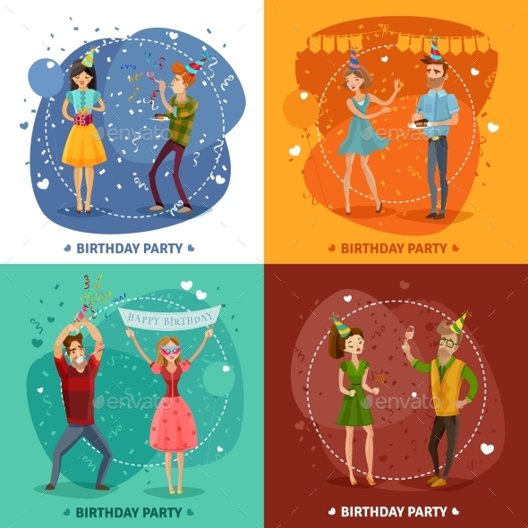 Birthday Party 4 Icons Square Composition - Miscellaneous Conceptual