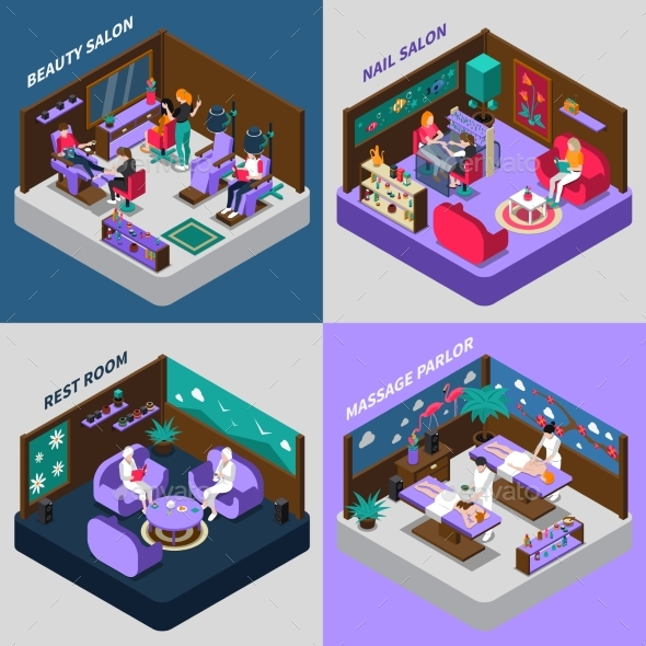 Beauty and Health Procedures Isometric - Concepts Business
