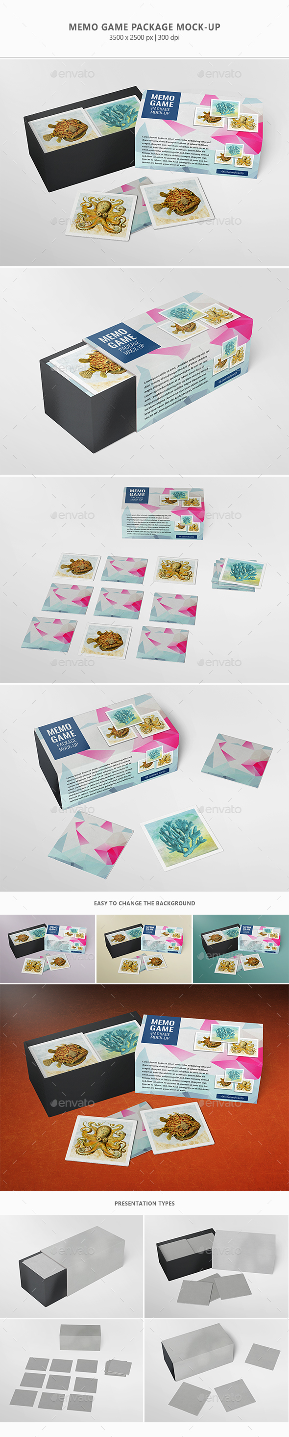 Memo Game Package Mock-up - Miscellaneous Packaging