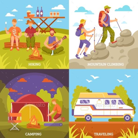 Outdoor Recreation Compositions Set - Sports/Activity Conceptual