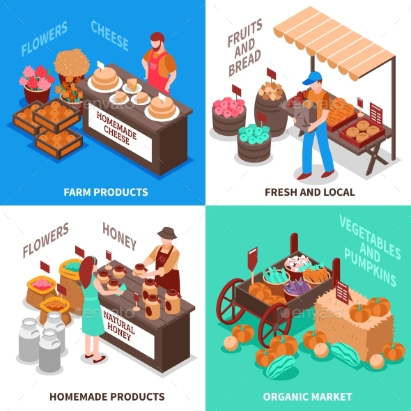 Greengrocer Market Compositions Set - Food Objects