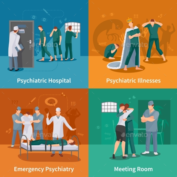 Psychiatric Illnesses Concept Icons Set - People Characters