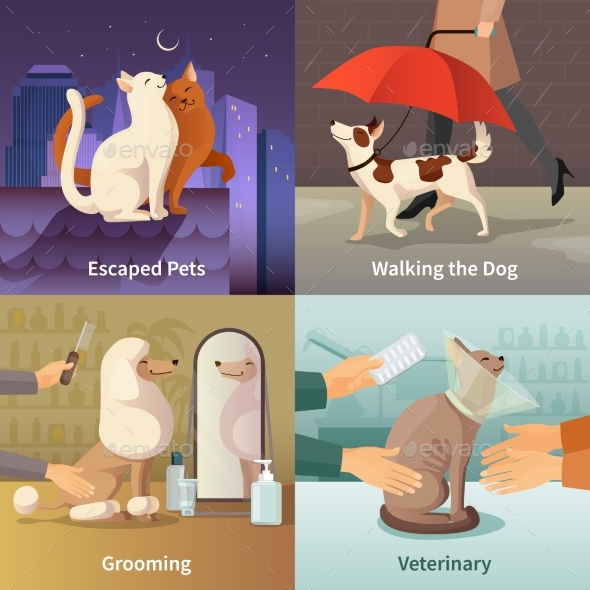Pet Shop Concept Icons Set - Animals Characters