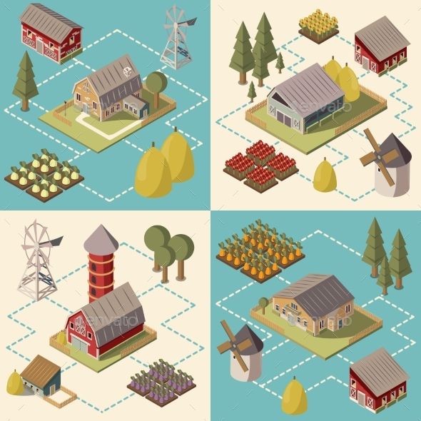 Farm Isometric Concept - Industries Business