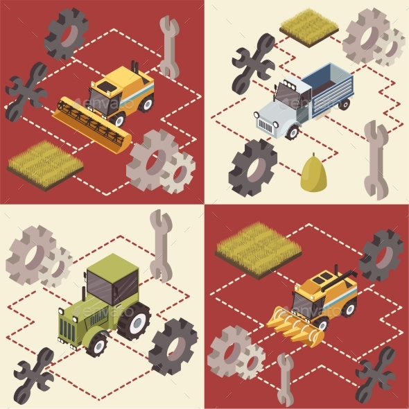 Farm Vehicles Isometric Concept - Miscellaneous Vectors