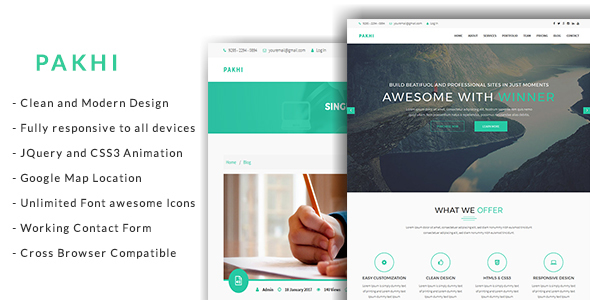 Pakhi Onepage Creative Agency Responsive Template - Business Corporate